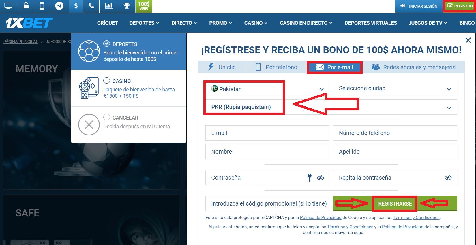 1xBet Registration using Existing Social Media Account